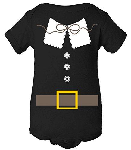 [Baby One Piece: Thanksgiving Pilgrim Costume Bodysuit Black 6 Months] (Boy Pilgrim Costumes)