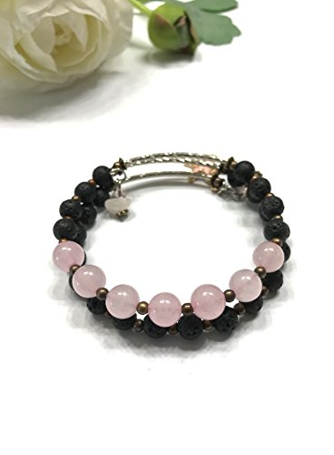 Natural Rose Quartz and Lava Rock Bracelet. Cute Sea Star and Beaded Charms. Memory Wire Easy Slip On and Off. Third Eye, Throat, and Heart Chakra Balance. (Rose Beaded Bracelets Quartz)