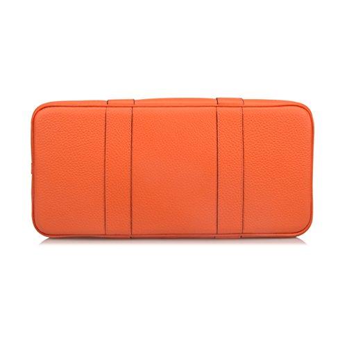 Ainifeel Women's Genuine Leather Top Handle Handbag Shopping Bag Tote Bag (Orange(leather+canvas)) by Ainifeel (Image #5)