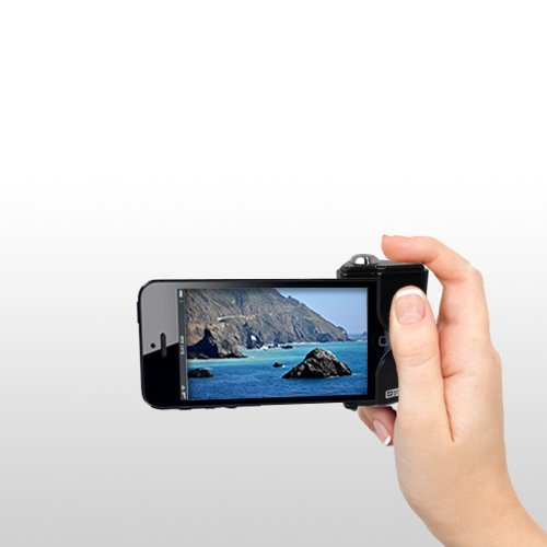 Synergy Digital iPhone 5, 5S Shutter Grip Snap-In and Shoot Camera Accessories No App, Battery or Charger Needed, Black