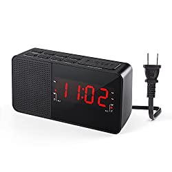 Dual Alarm Clock Radio, Digital AM/FM Radio Alarm Clock with 20 Stations Memories , LED Display, Sleep Timer, Snooze and Dimmer function for Bedroom