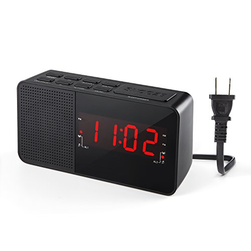 Dalpong Dual Alarm Clock Radio, Digital AM/FM Radio Alarm Clock with 20 Stations Memories, LED Display, Sleep Timer, Snooze and Dimmer function for Bedroom