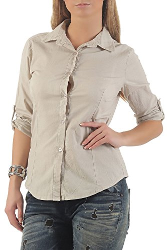 Casual Blouse Classique Lounges Femme Top Manches Boutons Beige 8030 Chemise Look Elgante Tunique Casual Malito fB5PwCnwq