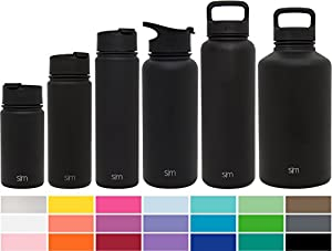 Simple Modern 32oz Summit Water Bottle + Extra Lid - Vacuum Insulated Stainless Steel Wide Mouth Hydro Travel Mug - Powder Coated Double-Walled Flask - Midnight Black