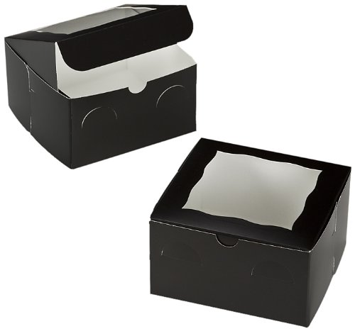 Dress My Cupcake Window Cupcake Box with Lid and Holder for 4 Mini Cupcakes, Black/White, Set of 100