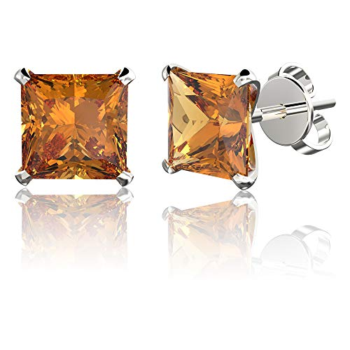 .925 Sterling Silver Hypoallergenic Citrine Cubic Zirconia Princess-Cut Stud Earrings, 4mm