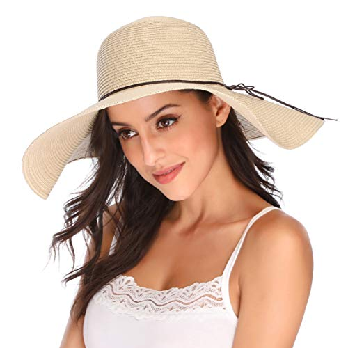 JOYEBUY Women's Floppy Big Brim Hat Bowknot Straw Hat Foldable Roll up Sun Hat (Style F-Beige)