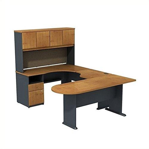 (Series A U Shaped Desk with Hutch, Peninsula and Storage)