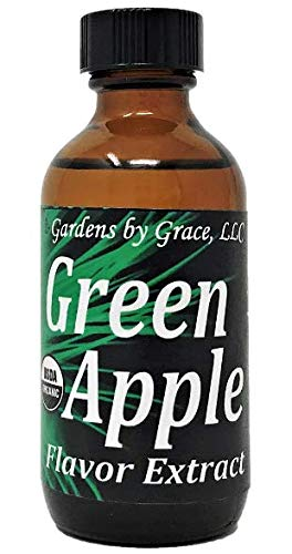 Organic Flavor Extract Green Apple | Use in Gourmet Snacks, Candy, Beverages, Baking, Ice Cream, Frosting, Syrup and More | GMO-Free, Vegan, Gluten-Free, 2 oz -