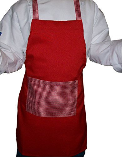 (CHEFSKIN Gingham Red Deluxe Apron Kids Children Fits 2-7 Yr Olds 15x21 Inches Real Fabric 100% Poly)