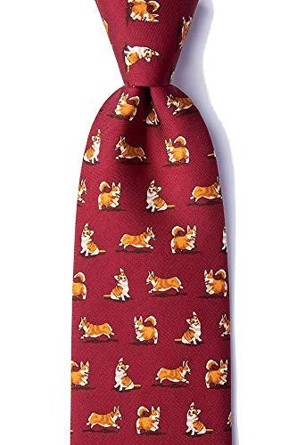 Novelty Silk Red Ties Alynn (Men's 100% Silk Rowdy Welsh Corgi Dog Lover Animal Novelty Necktie Tie (Burgundy Red))