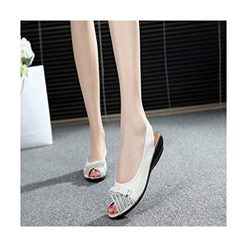 Plus Size Summer Shoes Women Genuine Leather Casual Wedges Shoes Sandals Women's Pumps Women Sandals for Women White
