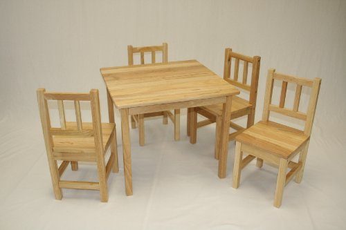 Kids 5 Piece Table and Chair Set Color: Natural by eHemco