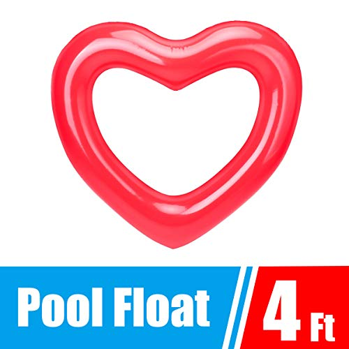 Dahen Inflatable Swim Rings,Red Love Heart Swim Ring - Fun Adults or Kids Swim Party Toy (Love Heart)