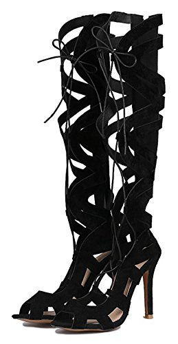 Mofri Women's Sexy Faux Suede Cut Out Self Tie Peep Toe Stiletto High Heels Knee High Gladiators Sandals Black 4 B(M) US ()