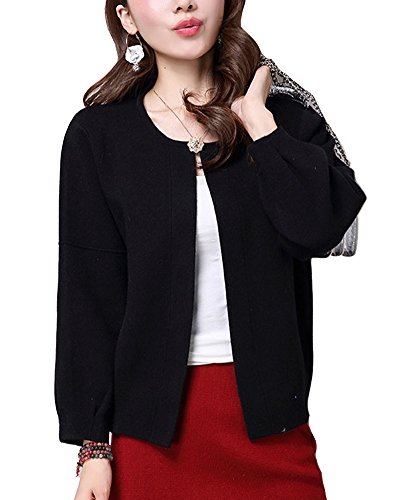 Mujer Cárdigan Jerséis de Punto Chaqueta Manga Largas Tops Suéter Outwear Negro