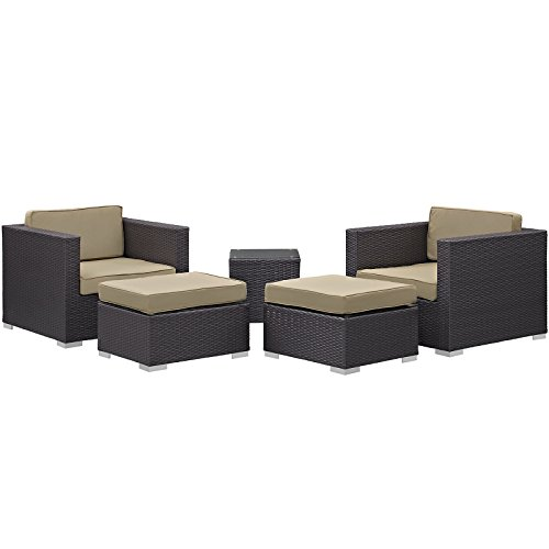 Modway Convene Wicker Rattan 5-Piece Outdoor Patio Furniture Set in Espresso Mocha