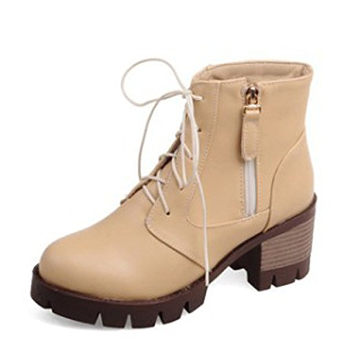 Funky Yellow Chunky Casual Block Rubber Faux Reißverschluss Heel Damen Schnürstiefeletten Schuhe f8xvqgWHw