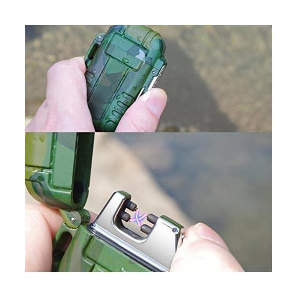 Mechero de Plasma, Teepao Dual Arc Mechero USB recargable sin llama a prueba de viento encendedor de cigarrillos… 3