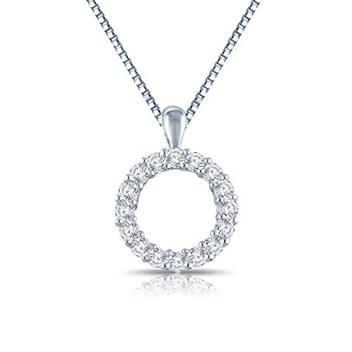 Diamond Wish Sterling Silver Round Diamond Circle of Life Pendant Necklace (3/8 cttw, O.White Color, I2-I3 Clarity) with 18