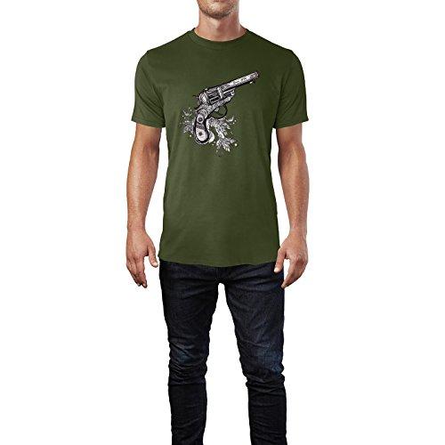 SINUS ART® Revolver mit Feder Dekoration Herren T-Shirts in Armee Grün Fun Shirt mit tollen Aufdruck