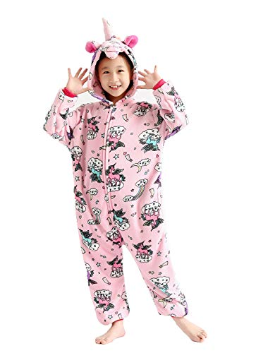 One Piece Kids Animal Costume Unicorn Pajamas Halloweem Costume Pink Star -