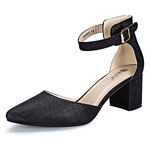IDIFU Women's IN2 Pedazo-C Mid Chunky Heels Ankle Strap D'Orsay Pumps (Black Glitter, 7.5 B(M) US)