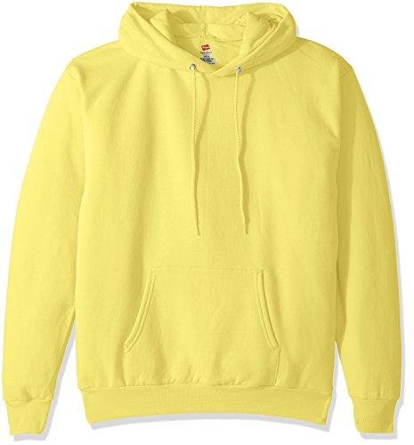 Hanes Men's Pullover Ecosmart Fleece Hooded Sweatshirt, Yellow, Large