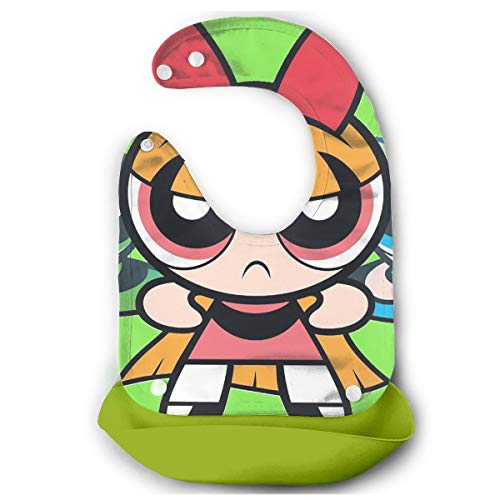 Baby Bib Powerpuff Girls Waterproof Feeding Bibs for Babies and Toddlers with Comfort-Fit Fabric Neck Green]()