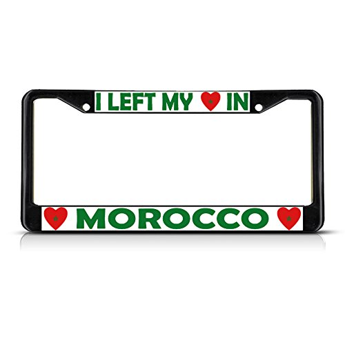 I Left My Heart In Morocco Flag Black Metal License Plate Frame Tag Border (Cowgirl Bling License Plate Frame compare prices)