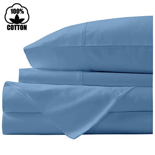 Nish & Joe 100% Cotton Bed Sheet, 300-Thread-Count Extra Long Staple, Luxurious Sateen Weave , 4-Pc King Sheet Set,Fits Mattress Upto 15''fit Deep Pockets, Fade & Stain Resistant - King, - Stain Light Resistant