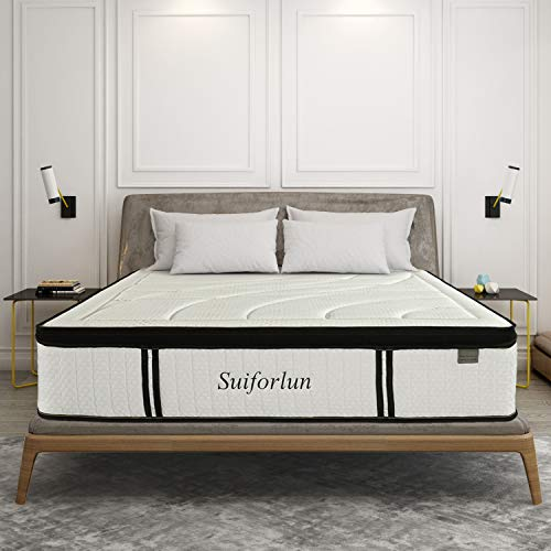 Suiforlun 14 Inch Hybrid Gel Memory Foam and Innerspring Mattress with Bamboo Cover, Euro Top Luxury Mattress with 7 Premium Layers, Pressure Relief, CertiPUR-US Certified, King