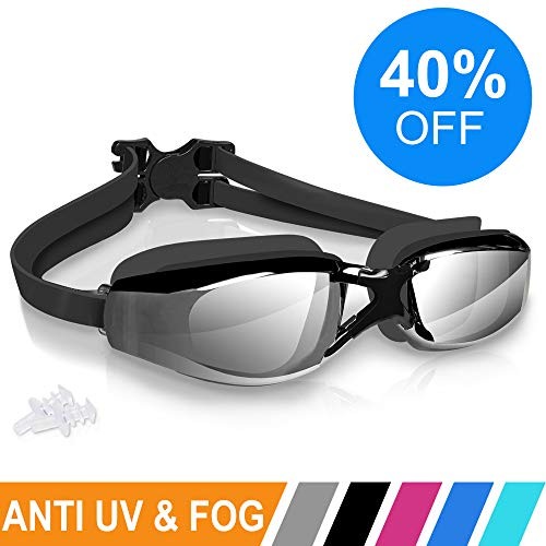 aefdce028b2 ARTEESOL Swimming Goggles,No Leaking Anti Fog Swim Goggles Crystal Clear  Vision Mirrored with UV Protection,Free Protective Case and Earplug ...