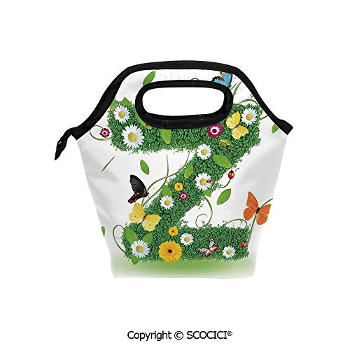 Printed Pattern Portable Lunch Tote Bag Fresh Summer Garden Flower Bed and Cute Butterflies Colorful Wings Leaves Decorative insulation cold outdoor picnic lunch box bag.