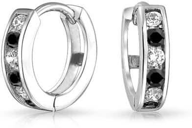 Bling Jewelry Simulated Onyx CZ Two Tone Huggie Hoops Earrings 925 Silver