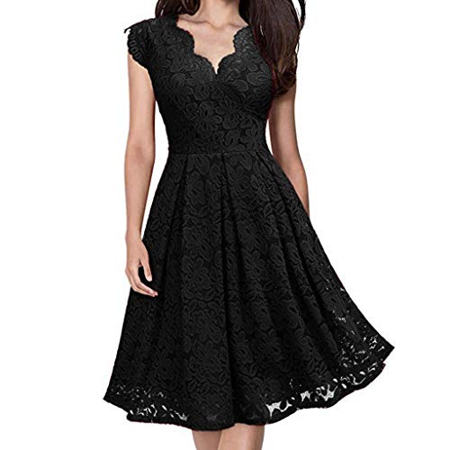 Women Elegant V-Neck Off Shoulder Lace Formal Evening Party Dress Sexy Sleeveless Skirt Cocktail Skater Dress Black