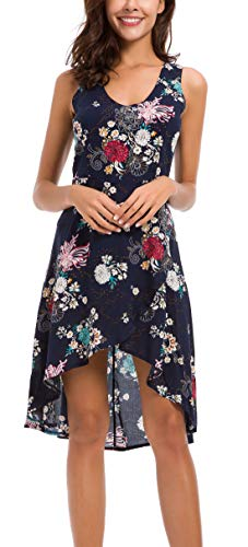 - KorMei Womens Summer Floral Print Scoop Neck Sleeveless Hi Low Casual Midi Dresses XL Blue