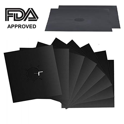 Gas Stove Burner Covers 8 Pack - Stove Top Grill, Griddle for Gas Stove, Dishwasher Safe, FDA Approved, Burner Liners, Stovetop Burner Cover, Easy to Clean, Double Thickness, Non-stick, Heat Resistent (Range Burner Cap Black)