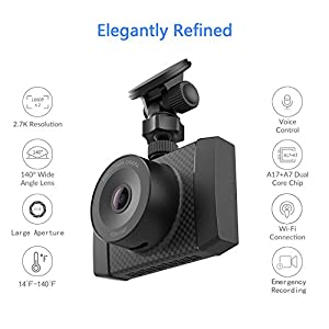"YI 2.7K Ultra Dash Cam with 2.7"" LCD Screen, 140° Wide Angle Lens, Dual-Core Processor, Voice Control, MEMS 3-axis G-Sensor, and Night Vision (Micro SD Card and Car Charger Included)"