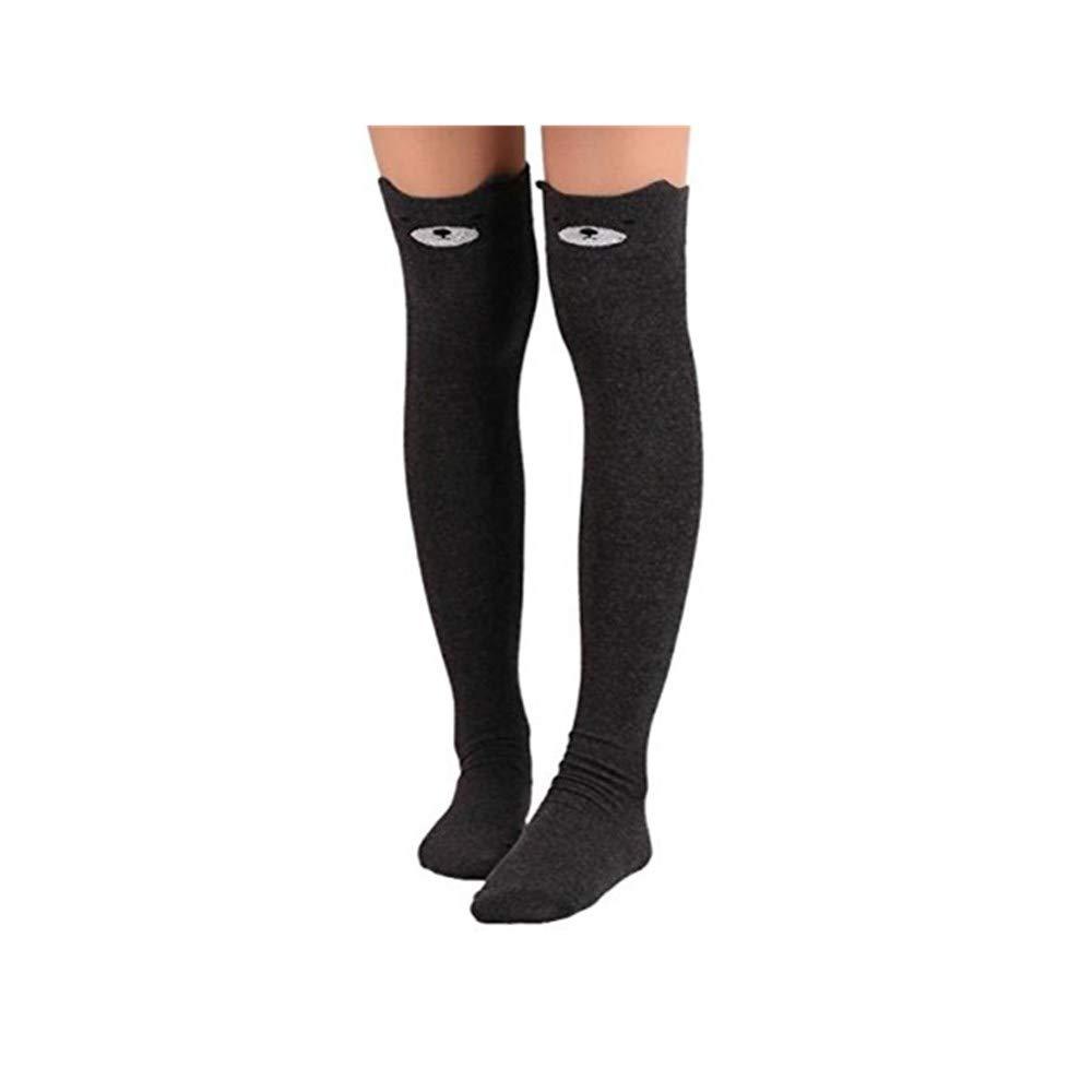 f25df1663 Amazon.com  Charberry Womens Cartoon Stockings Cat Black Long Socks Over  Knee High Sock (A)  Clothing