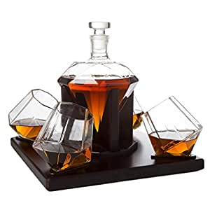 The Wine Savant Diamond Whiskey Decanter, Great Gift! 750ml With 4 Diamond Glasses and Beautiful Mahogany Wooden Holder Liquor, Scotch, Rum, Bourbon, Vodka, Tequila Decanter, Gifts for Dad