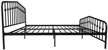 Novogratz Bushwick Metal Bed with Headboard and Footboard | Modern Design | King Size – Black 41qmuTlf0zL