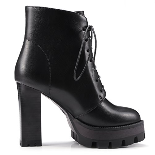 Women Lace Boots Black Boots Womens Ankle Thick Heels AIWEIYi Martin High up Vintage z0BEqnqZw