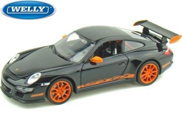 PoRSche 911 (997) GT3 RS, black/orange, 0, Model Car, Ready-made, Welly 1:24