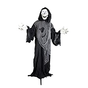 "Halloween Haunters 60"" Animated and Light Up Standing Strobe Reaper Prop Decoration - Battery Operated"
