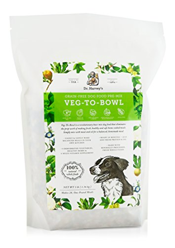 - Dr. Harvey's Veg-to-Bowl Dog Food, Human Grade Dehydrated Base Mix for Dogs, Grain Free Holistic Mix (3 Pounds)
