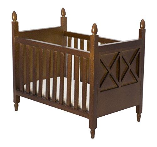 Inusitus Wooden Dollhouse Crib - Dolls House Furniture Bed Nursery - Toys Brown 1/12 Scale (Dark-Brown)