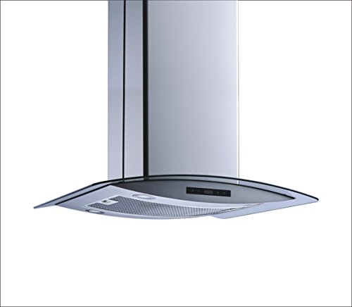 Winflo 36'' Island Stainless Steel/Arched Tempered Glass Ducted/Ductless Kitchen Range Hood with 450 CFM Air Flow LED Display Touch Control Included Dishwasher-Safe Aluminum Filter and 4x2W LED Lights by Winflo (Image #4)