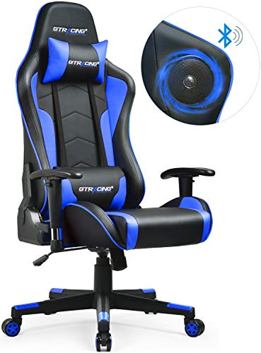 GTRACING Gaming Chair with Bluetooth Speakers Music Video Game Chair Audio Heavy Duty Computer Desk Chair GT890M Blue