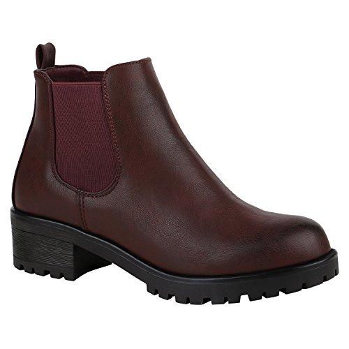 Stiefelparadies Damen Stiefeletten Chelsea Boots mit Blockabsatz Profilsohle Plateau Vorne Flandell Dunkelrot Brito